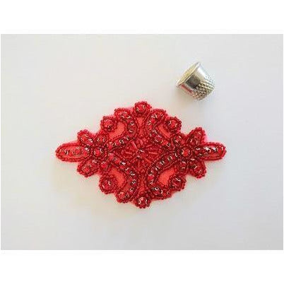 R-145 Red bead with red rhinestone applique