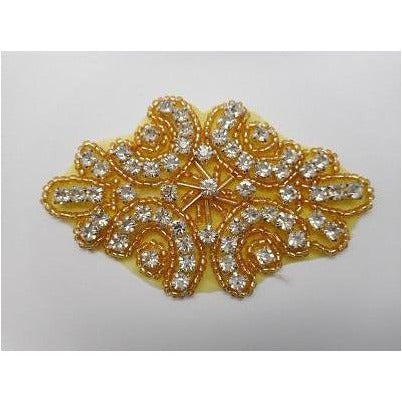 R-145 Gold bead and crystal rhinestone applique
