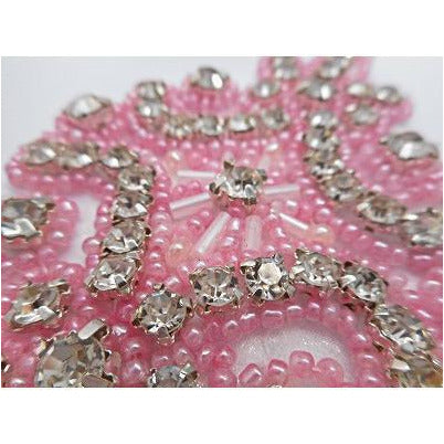 R-145 Pink bead and rhinestone applique