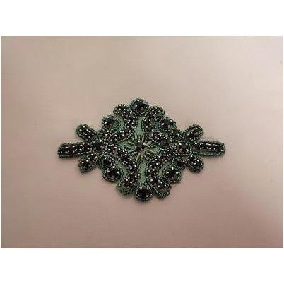 R-145 Green bead with green rhinestone applique