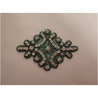 R-145 Green bead with crystal rhinestone applique