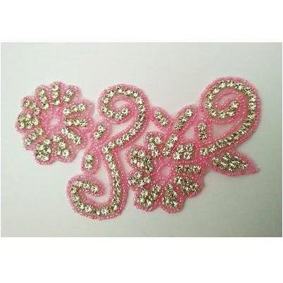R-146: Pink bead and rhinestone flower applique