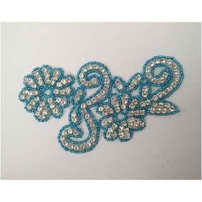 R-146: Turquoise bead and rhinestone flower applique