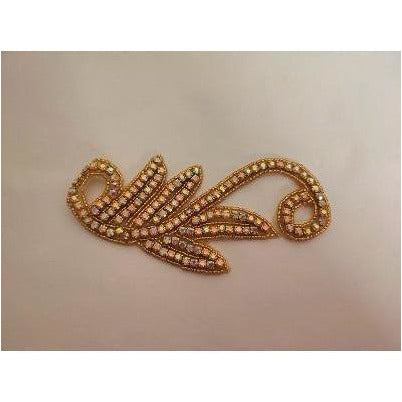 R-147: Gold bead and gold ab rhinestone applique