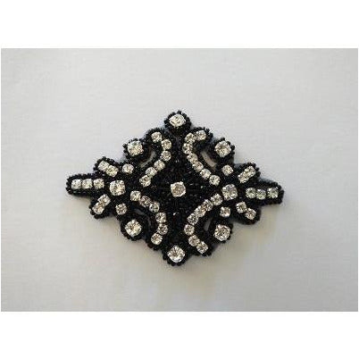 R-145 Black bead and rhinestone applique