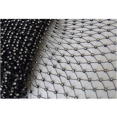 RM-001, Black and clear rhinestone mesh, high grade stones