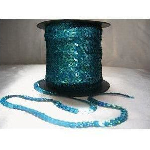 Sequin strand, flat, Turquoise laser