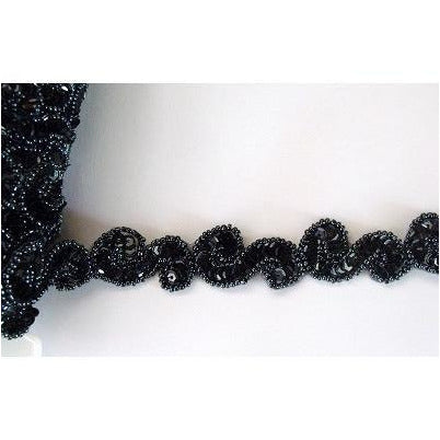 T-001 Black sequin and bead S trim.