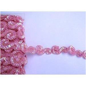 T-001 Pink iris, sequin and bead S trim