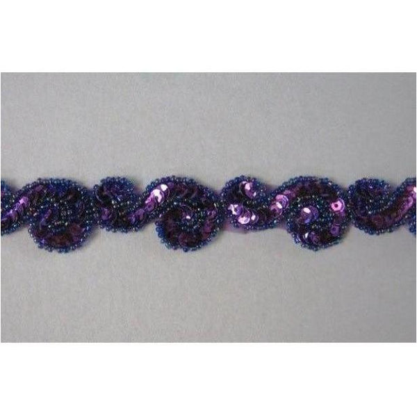 T-001 Purple sequin and bead S trim