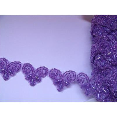 T-003 Lilac beaded love heart trim