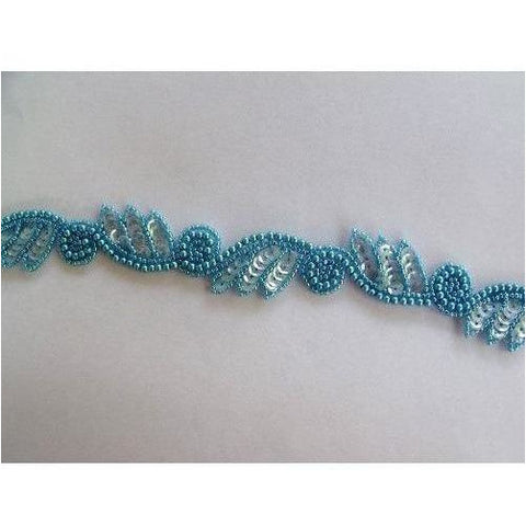 T-015 Light blue Iris leaf and swirl trim
