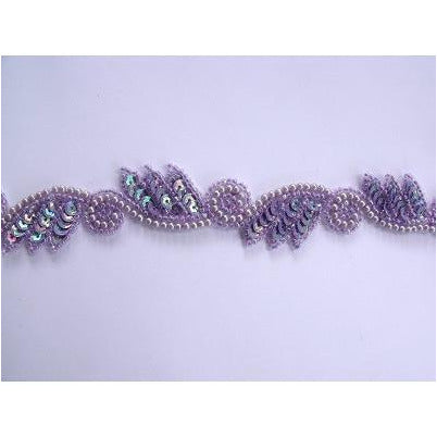 T-015 Lilac Iris leaf and swirl trim