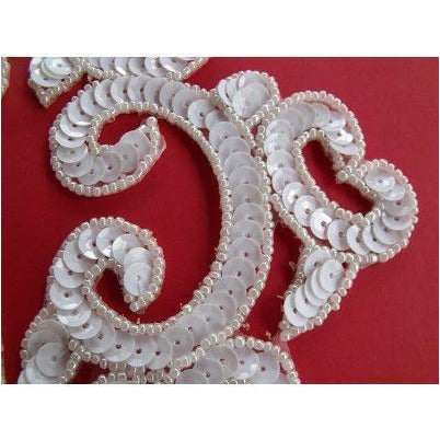 P-024 White sequin and bead costume pair