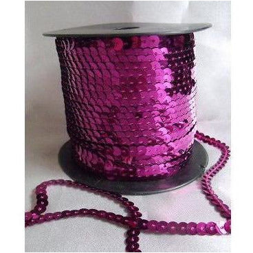 Sequin Strand, flat, 6mm, Fuchsia