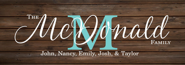Personalized Custom Family Name Monogram Initial Sign Wedding, Shower, Birthday, Christmas Gift - With Family Members Names, Established Date and Year, Family Name - Heartland Canvas and Signs