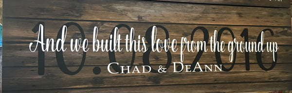 Custom Date Name And We Built This Love From The Ground Up Sign - Wedding Gift, Anniversary Gift, Shower Gift, Christmas - Heartland Canvas and Signs
