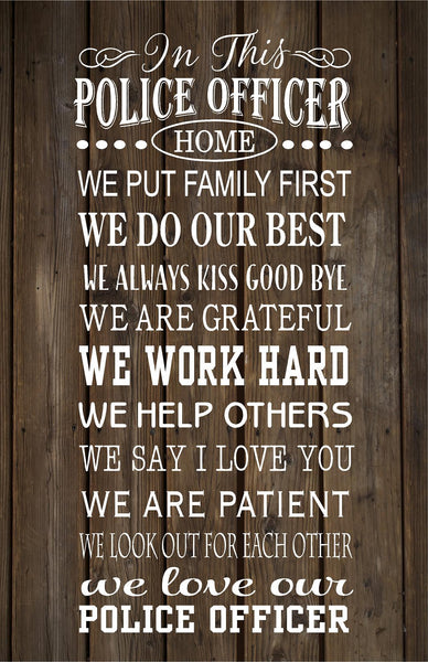 In This Police Officer's Home Family Rules  Wood Sign, Canvas Wall Hanging, - Christmas, Father's Day - Heartland Canvas and Signs