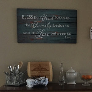 Bless the Food Before Us The Family Beside Us and the Love between Us Wood Sign Canvas Art Mother's Day Thanksgiving Christmas Hostess Gift, - Heartland Canvas and Signs