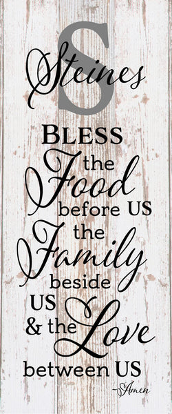 Custom Name Bless the Food Before Us The Family Beside Us and the Love between Us Wood Sign Canvas Wall Art Thanksgiving Christmas - Heartland Canvas and Signs