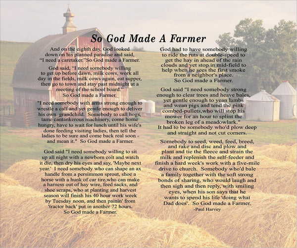 So God Made A Farmer Custom Photo Canvas Paul Harvey Christmas, Father's Day, FFA, Mother's Day Gift - Heartland Canvas and Signs