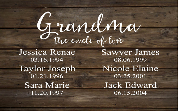 Grandma Circle of Love  Custom Date Grandchildren Grandkids Family Sign