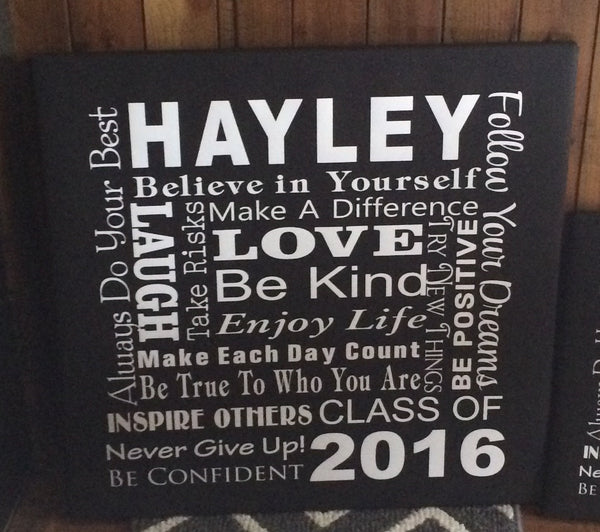 Graduation Class of 2017 Custom Name Collage Subway Art Typography Canvas Wall Art Senior Gift - Graduation Party Decor, High School Grad, Gift - Heartland Canvas and Signs