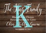 Custom Blended Family Name Sign Monogram - Rustic Inspired Wood Sign or Canvas Wall Hanging - Wedding, Anniversary Gift, Housewarming - Heartland Canvas and Signs