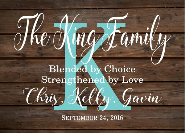 Custom Blended Family Name Sign Monogram - Heartland Canvas and Signs