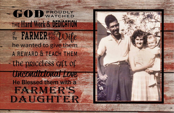 Farmer Daughter Custom Photo Wood Sign or Canvas Wall Art - Christmas, Mother's Day, Graduation, Wedding, etc. - Heartland Canvas and Signs
