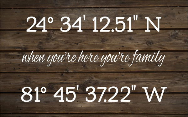 Custom Family Longitude Latitude - Heartland Canvas and Signs