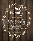 Blended Family Name Sign Monogram Rustic Inspired Wood Sign or Canvas Wall Hanging   Wedding  Anniversary Gift  Housewarming - Heartland Canvas and Signs