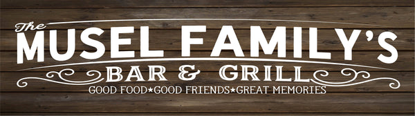 Family Name Bar & Grill Sign Monogram Rustic Wood Sign or Canvas Wall Hanging   Wedding  Anniversary Gift  Housewarming - Heartland Canvas and Signs