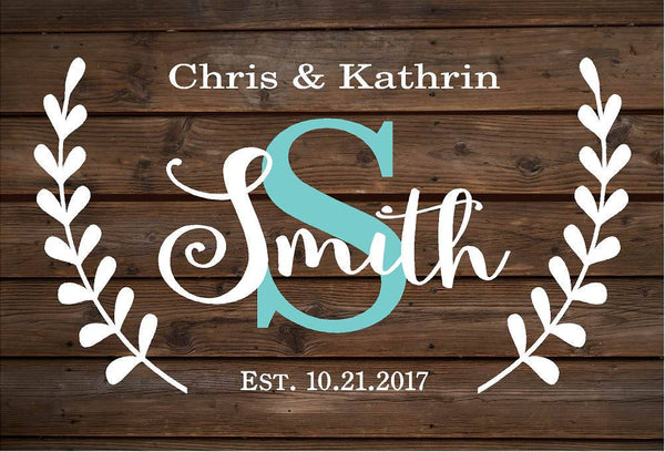 Personalized Family Name Sign Monogram   Rustic Wood Sign or Canvas Wall Hanging   Wedding  Anniversary Gift  Housewarming - Heartland Canvas and Signs