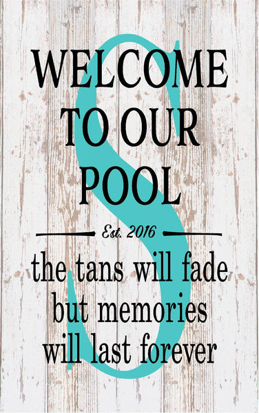 Housewarming Personalized Monogram Welcome To Our Pool Tan Fades Memories Last Forever Monogram Initial Outdoor Canvas Christmas Gift - Heartland Canvas and Signs