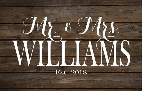 Wedding Mr & Mrs Est Year Name Sign Monogram   Rustic Wood Sign or Canvas Wall Hanging   Wedding  Anniversary Gift  Housewarming - Heartland Canvas and Signs