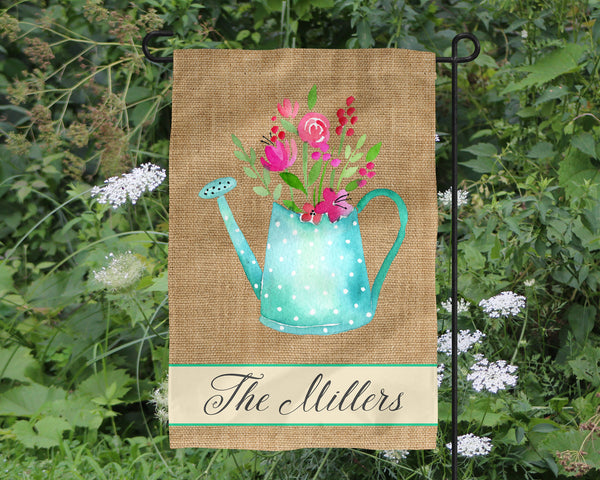Custom Name Watering Can Burlap Garden flag  Personalized Garden Flag  Wedding Gift  Mother's Day  Summer Garden  Garden Art  Name Sign - Heartland Canvas and Signs