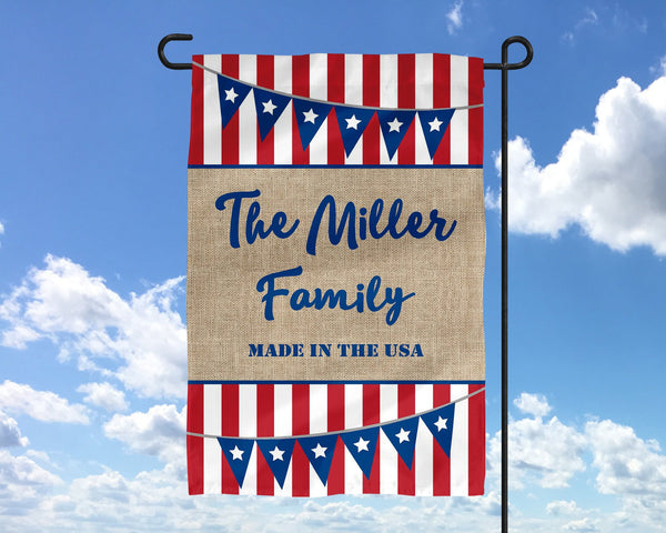 4th of July Name Made In USA Garden Flag Wedding Gift  Mother's Day Gift Summer Garden Garden Art Welcme Sign 4th of July Decor - Heartland Canvas and Signs