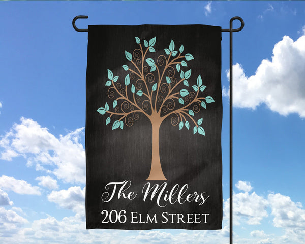 Custom Name Address Tree Garden flag  Personalized Garden Flag  Wedding Gift  Mother's Day Gift  Summer Garden  Garden Art  Name Sign - Heartland Canvas and Signs
