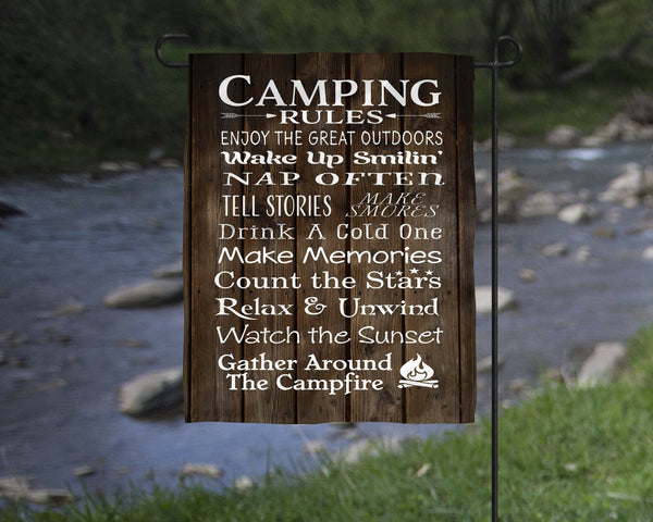 Camping Rules Garden Flag Camper Decor  Mother's Day Gift  Christmas Gift  Secret Santa  Happy Camper Gift  Father's Day  Birthday - Heartland Canvas and Signs