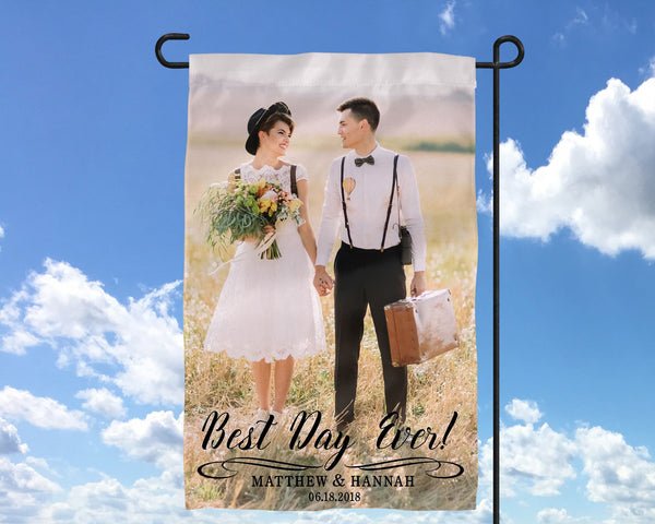 Best Day Ever Custom Photo Wedding Banner Flag Sign   Photo Wedding Sign  Reception Sign Ceremony Sign   Bridal Sign - Heartland Canvas and Signs