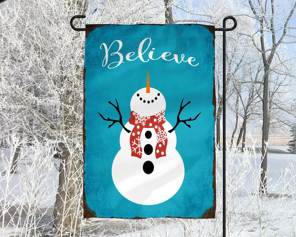 Believe With Snowman Christmas Winter Garden Flag Christmas Gift Christmas Decor Secret Santa Sister Grandmother Housewarming Gift - Heartland Canvas and Signs