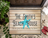 Name Doormat Welcome Mat Rug  Beach House  Pool Tan Fades Memories Last Forever Housewarming  Mother's Day  Father's Day - Heartland Canvas and Signs