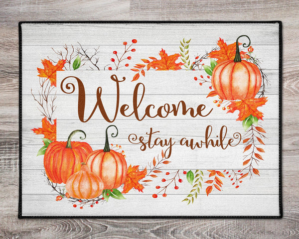 Welcome Stay Awhile Fall Autumn Rug Doormat Rug Rustic Shabby Chic Housewarming  Realtor Gift, Autumn Decor, Closing Gift, Farmhouse Deco - Heartland Canvas and Signs