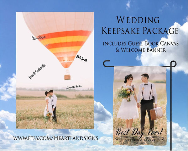 Cusotm Photo Wedding Guest Book Welcome Banner Custom Photo Wedding Reception Party Decor Custom Photo Guest Book Alternative - Heartland Canvas and Signs