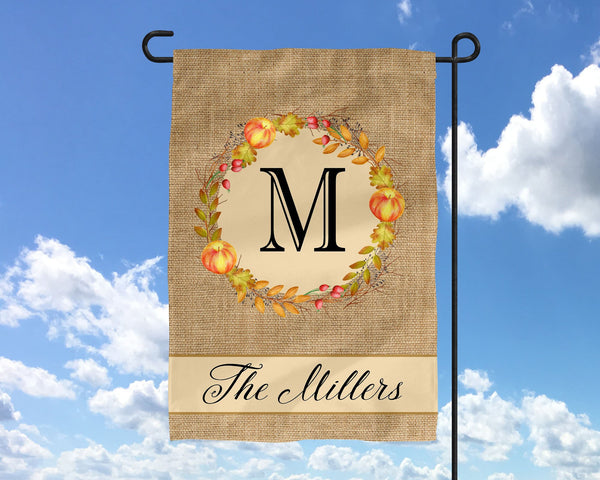 Custom Name Monogram Fall Wreath Garden Burlap Inspired flag  Personalized Garden Flag  Wedding Gift  Fall Decor  Autumn Decor  Thanksgiving - Heartland Canvas and Signs