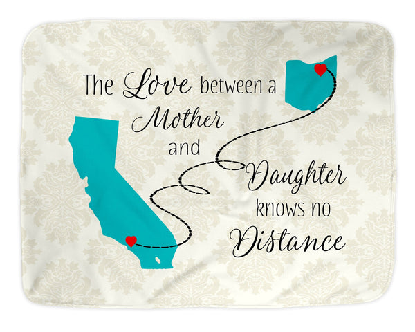 Love Mother Daughter Knows No Distance State Long Distance Blanket Soft Fleece Sherpa Blanket Christmas  Mother's Day State Art - Heartland Canvas and Signs
