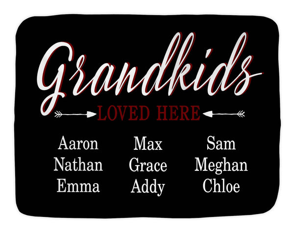 Grandchildren Loved Here Custom Name Blanket Super Soft Sherpa Lined Christmas Gift Mother's Day Anniversary Gift Birthday - Heartland Canvas and Signs