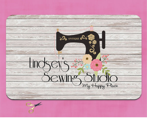 Custom Name Sewing Studio Happy Place Craft Mat Quilting  Scrapbooking Mother's Day Gift  Sewing Room Decor  Craft Room Decor Christmas Gift - Heartland Canvas and Signs
