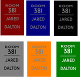 Custom Dorm Room Number Name Banner Sign Male   Dorm Decor - Heartland Canvas and Signs